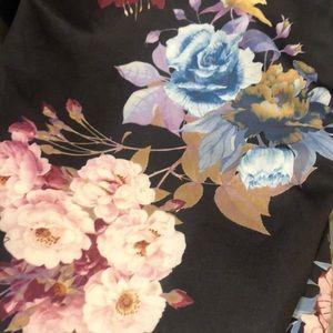 Boohoo Dresses - Black Maroon Floral Neoprene Stretch Pencil Dress